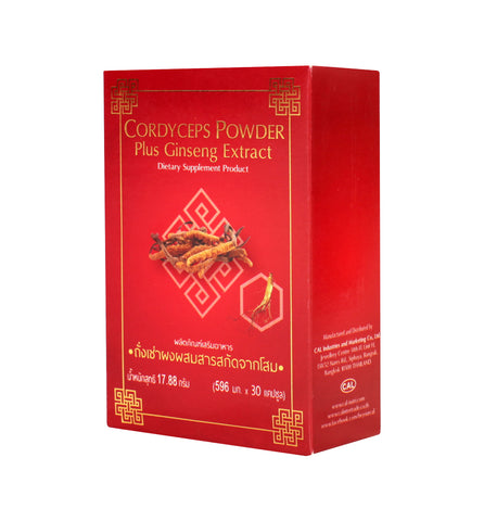 CAL Cordyceps Powder plus Ginseng Extract Dietary Supplement 30 Capsules (500mg)