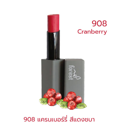 Forest Fruits Lips SPF10 Natural Coconut Lipstick 908 Cranberry (5g) - Organic Pavilion
