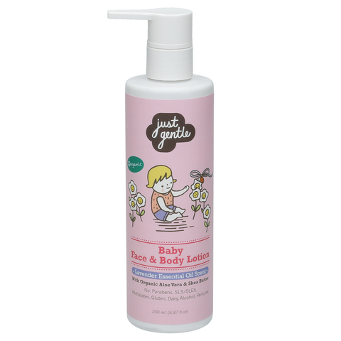 Just Gentle Baby Face & Body Lotion with Lavender Essential Oil Scent (200ml) - Organic Pavilion