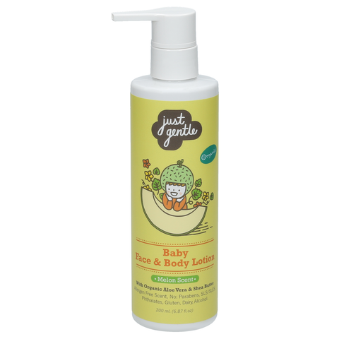 Just Gentle Baby Face & Body Lotion with Melon Scent (200ml) - Organic Pavilion
