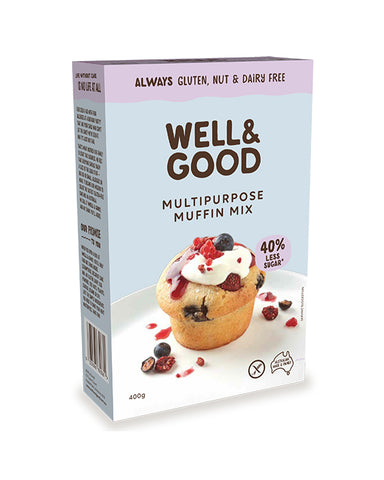 Well & Good Reduced Sugar Gluten Free Muffin Mix (400gm)