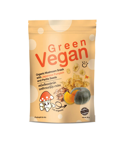 Green Vegan Organic Mushroom Snack with Japanese Pumpkin and Perilla Seeds (50gm) - Organic Pavilion