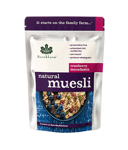 Brookfarm Natural Muesli with Cranberry Macadamia (350gm) - Organic Pavilion