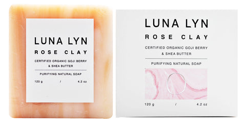 Luna Lyn Rose Clay Purifying Natural Soap Goji Berry & Shea Butter (120gm)