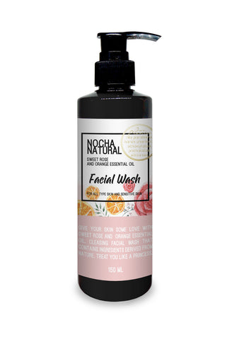 Nocha Sweet Rose and Orange Essential Oil Facial Wash (150ml)