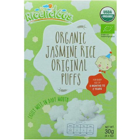 Ricelicious Organic Jasmine Rice Original Puffs 30gm (6 packs x 5gm)