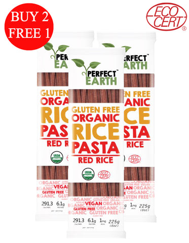 BUY 2 FREE 1 Perfect Earth Gluten Free Organic Pasta Red Rice (3 x 225gm)