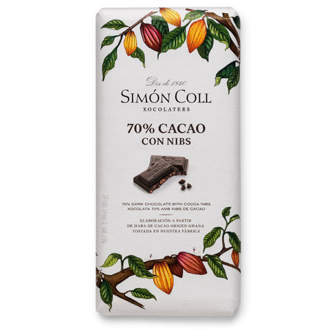 Simon Coll Chocolate Simon Coll 70% with Nibs (85g) - Organic Pavilion