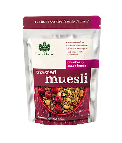Brookfarm Toasted Muesli with Cranberries Macadamia (350gm) - Organic Pavilion