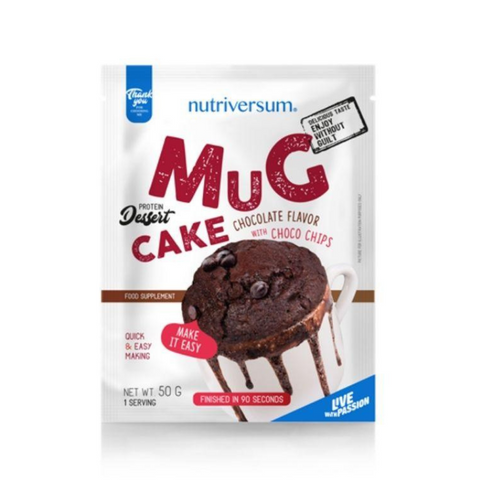 Nutriversum Protein Mug Cake Chocolate flavour with Choco Chips เค้กแก้วโปรตีน (50gm) - Organic Pavilion