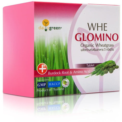 Daily Green Whe Glomino Organic Wheatgrass Burdock Root & Amino Acid Tablet 2.5gm (5 tablets per sachet) x 20 sachets) (50gm) - Organic Pavilion