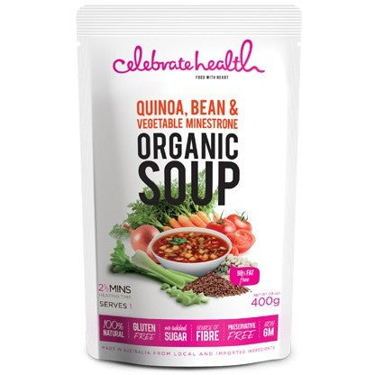 BUY 1 FREE 1 Celebrate Health Quinoa, Bean & Vegetable Minestrone Organic Soup (2 x 400gm)