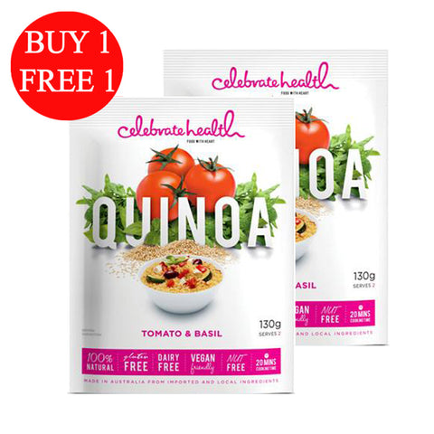 BUY 1 FREE 1 Celebrate Health Quinoa Tomato and Basil (2x130gm)