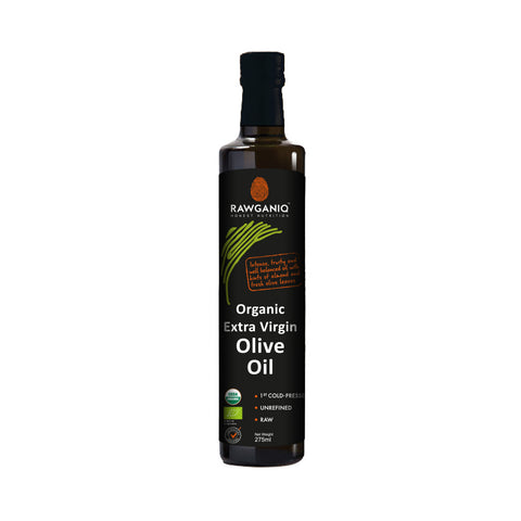 Rawganiq Organic Extra Virgin Olive Oil, Cold Pressed, Unrefined (275ml)