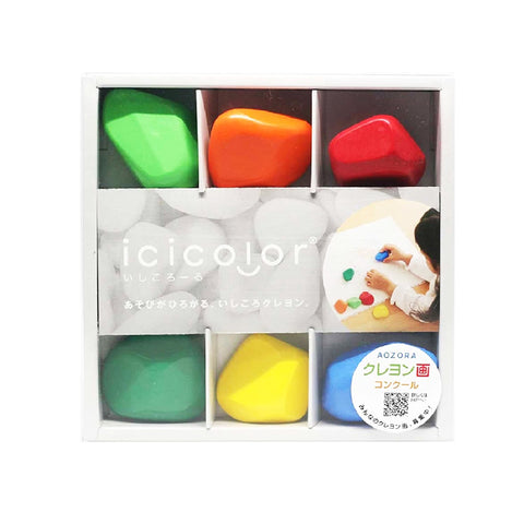 Aozora icicolor 6-colour stone-shaped non-toxic Crayons - Organic Pavilion