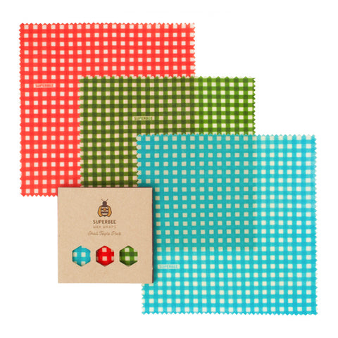SuperBee Wax Wraps – Triple Small Pack - Gingham (46g) - Organic Pavilion