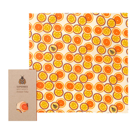 SuperBee Wax Wraps – Sandwich Wrap - Passion Fruit Orange (50g) - Organic Pavilion