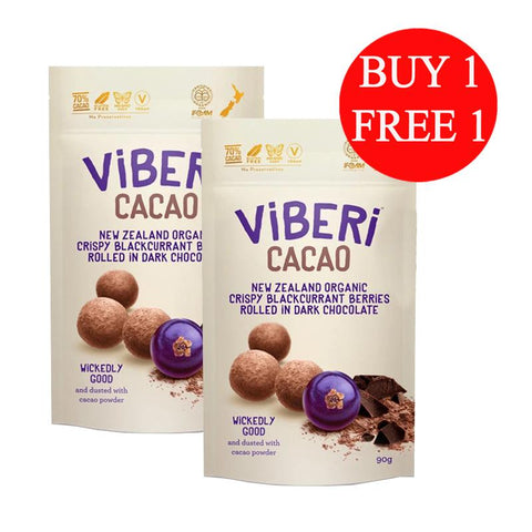 Viberi New Zealand Cacao 70% Organic Dark Chocolate Rolled Blackcurrants (90g)