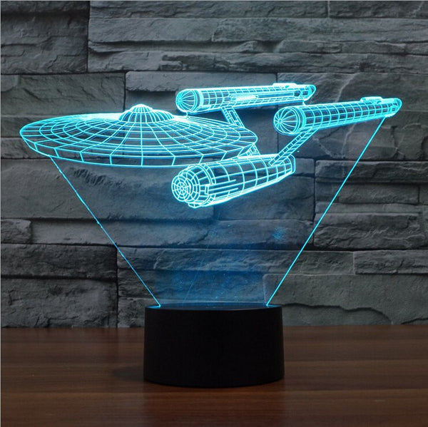 Lampada - Star Trek | Lampada Multicolore 3D A LED | Astronave Enterprise