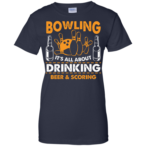 Bowlbusters Ladies Shirt - Bowling It's All About Drinking Beer And Scoring Navy