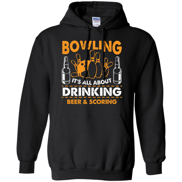 Bowlbusters Hoodie - Bowling It's All About Drinking Beer And Scoring Black