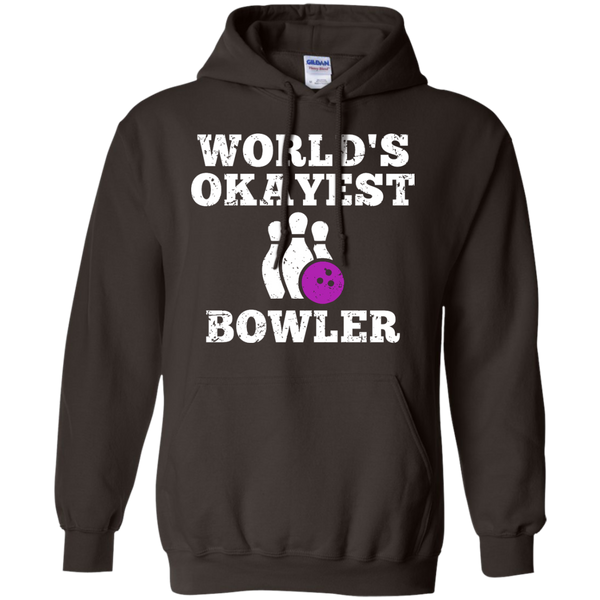 World's Okayest Bowler Funny Bowling Team Hoodie - Dark Chocolate Color