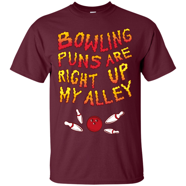 Maroon Bowling Puns Are Right Up My Alley T-Shirt by BowlBusters