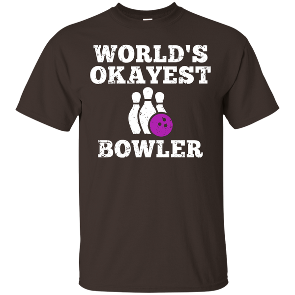 World's Okayest Bowler Funny Bowling Team Shirt - Dark Chocolate Color
