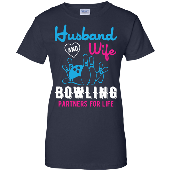 Husband And Wife Bowling Partners For Life - Women - Couples Bowling Shirt - Navy