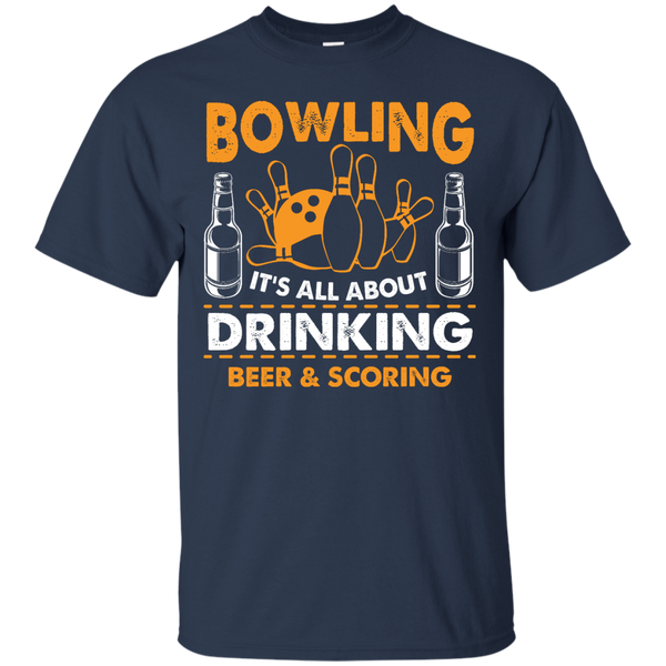 Bowlbusters Shirt - Bowling It's All About Drinking Beer And Scoring Navy