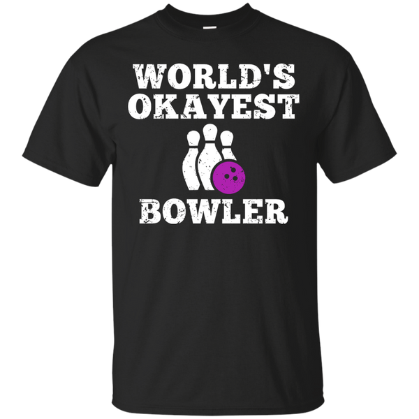 World's Okayest Bowler Funny Bowling Team Shirt - Black Color