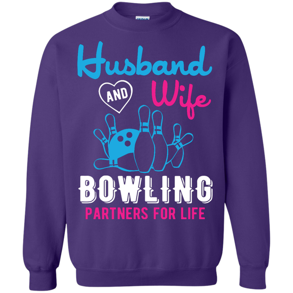 Husband And Wife Bowling Partners For Life - Couples Bowling Crewneck - Purple