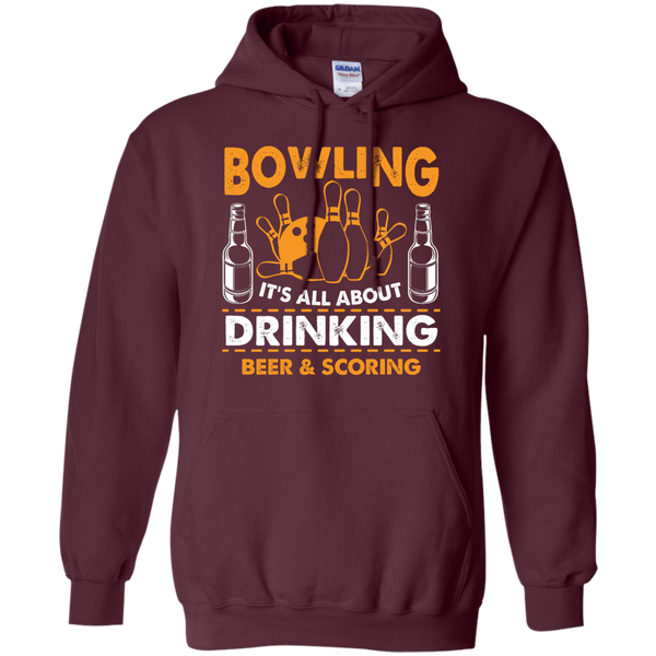 Bowlbusters Hoodie - Bowling It's All About Drinking Beer And Scoring Maroon