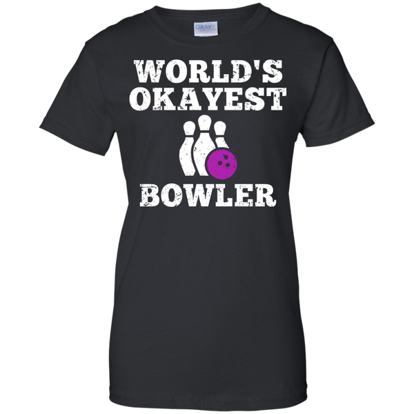 World's Okayest Bowler Funny Bowling Team Women's T-Shirt - Black Color