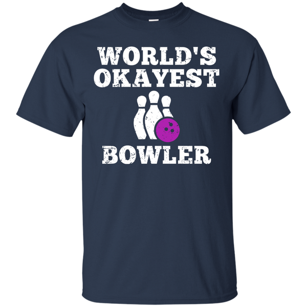 World's Okayest Bowler Funny Bowling Team Shirt - Navy Color