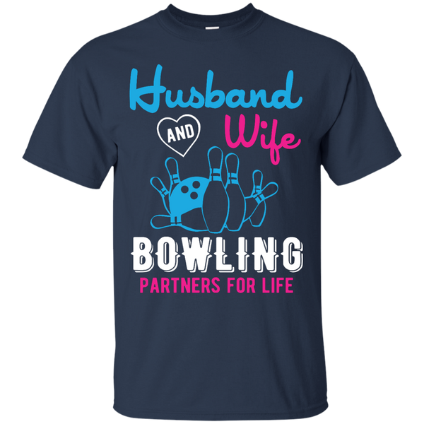 Husband And Wife Bowling Partners For Life - Men - Couples Bowling Shirt - Navy