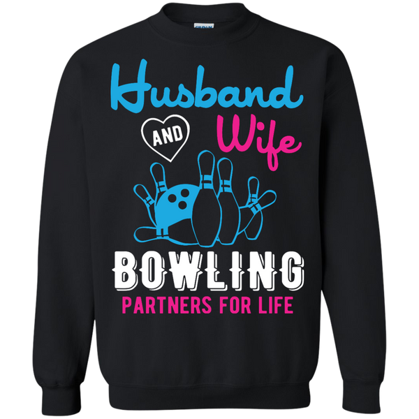 Husband And Wife Bowling Partners For Life - Couples Bowling Crewneck - Black