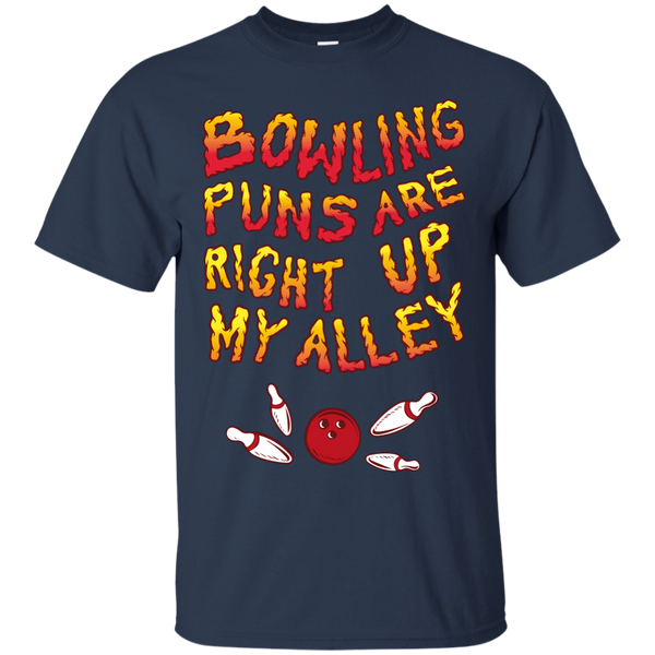 Navy Bowling Puns Are Right Up My Alley T-Shirt by BowlBusters