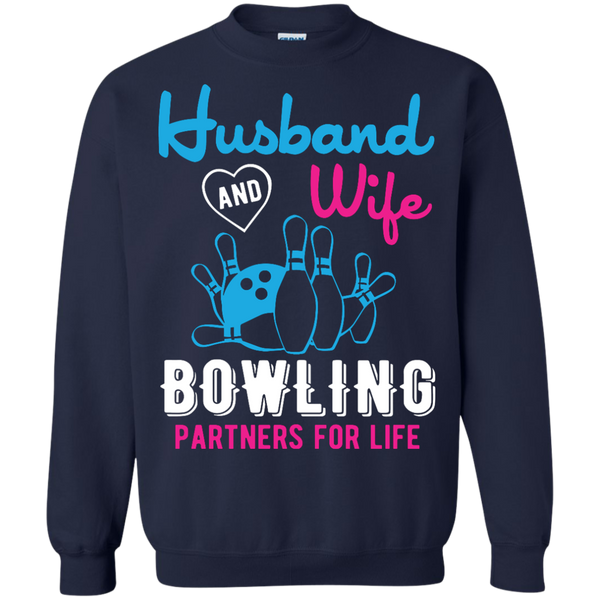 Husband And Wife Bowling Partners For Life - Couples Bowling Crewneck - Navy