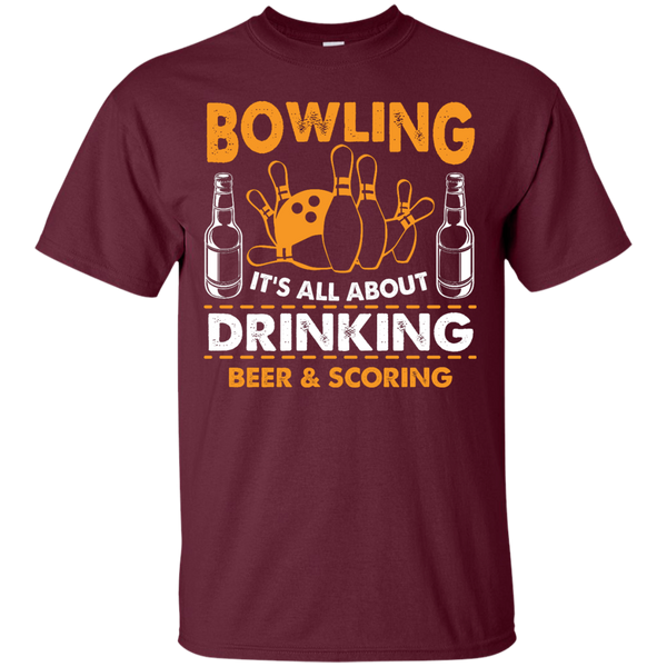 Bowlbusters Shirt - Bowling It's All About Drinking Beer And Scoring Maroon