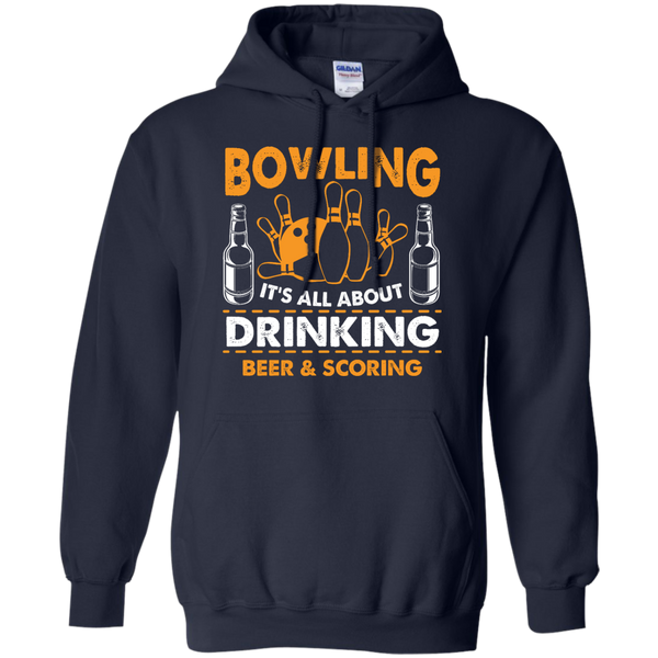 Bowlbusters Hoodie - Bowling It's All About Drinking Beer And Scoring Navy