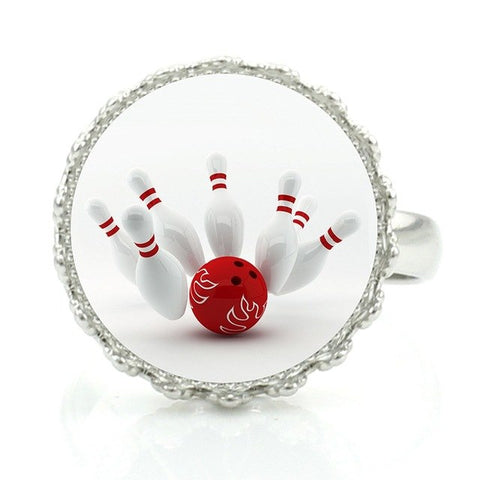Bowling Ring - White & Red - Bowl Busters