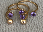 AJAR RING - TWO AMETHYSTS - NIVES