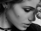 SAMPLE SALE -  THE DOUBLE - PAIR OF DOUBLE LUCY EARRINGS IN BLACK DIAMOND - NIVES