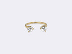 OPEN RING 18K GOLD - TWO WHITE DIAMONDS - SIZE M - NIVES