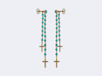 THE DOUBLE- PAIR OF DOUBLE LUCY EARRINGS IN TURQUOISE - NIVES