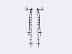 THE DOUBLE - PAIR OF LONG ROSARY BLACK DIAMOND EARRINGS - NIVES