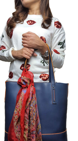 Shanasaa Silk Scarf Christmas look, tie on a bag