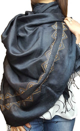 Black Embroidered Pure silk scarf or Shawl