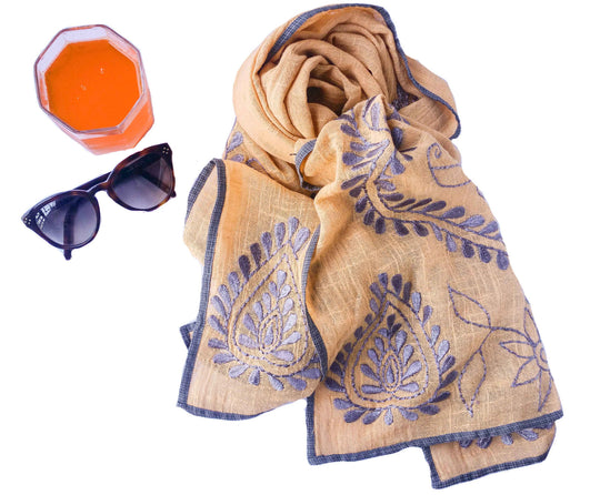 Orange embroidered cotton stole
